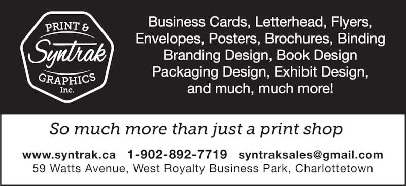 Syntrak Print & Graphic Inc (902-892-7719) - Display Ad -
