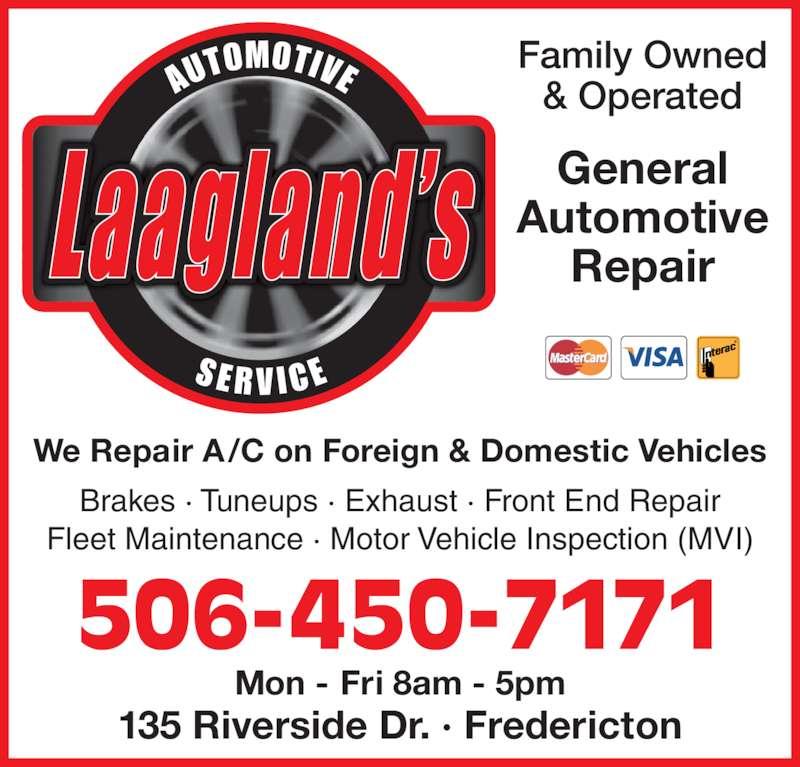 Laagland 39 s auto service inc 135 riverside dr for Family motors auto repair