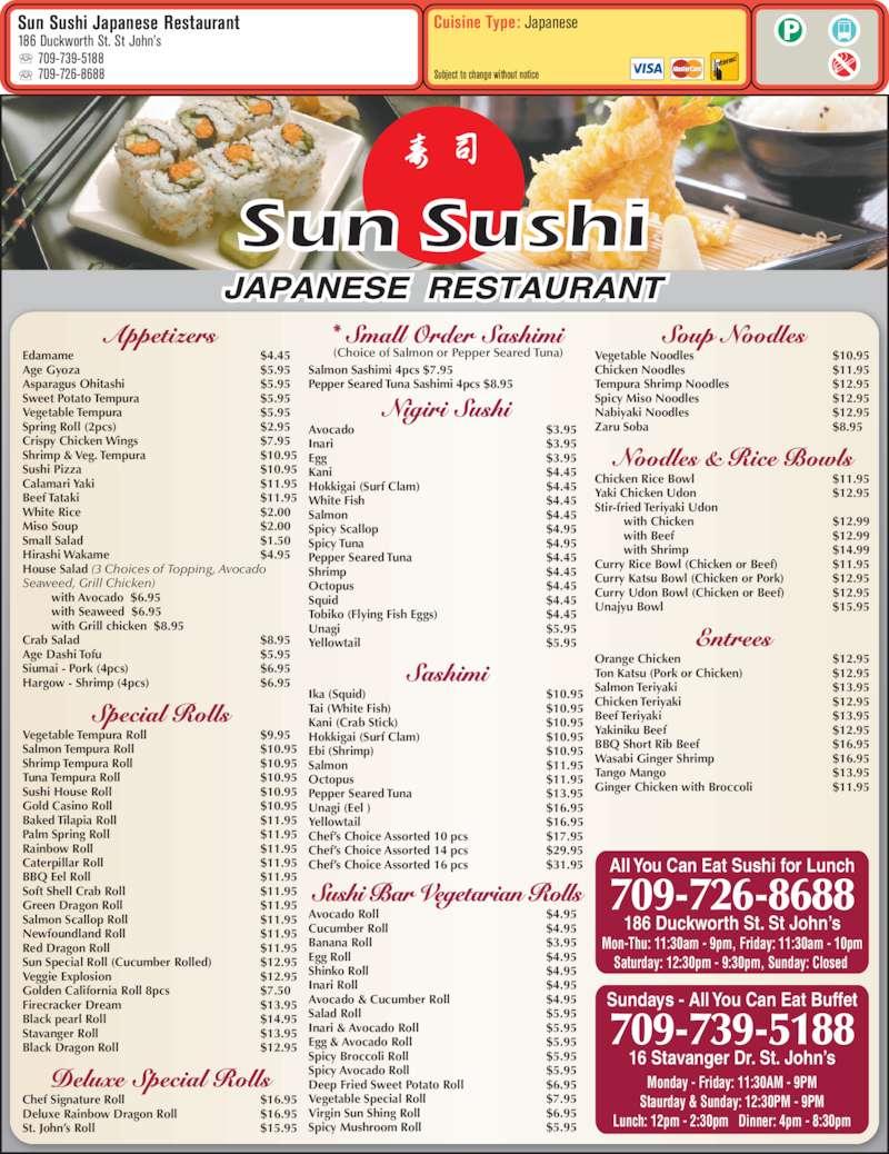 Sun sushi japanese restaurant menu prices 186 for Akina japanese cuisine menu