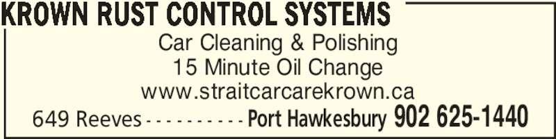 Strait Car Care Auto Detailing & Krown Rust Control (902-625-1440) - Annonce illustrée======= -