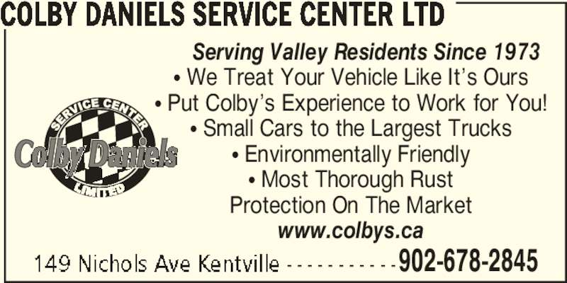 Colby Daniels Service Center Ltd (902-678-2845) - Annonce illustrée======= -