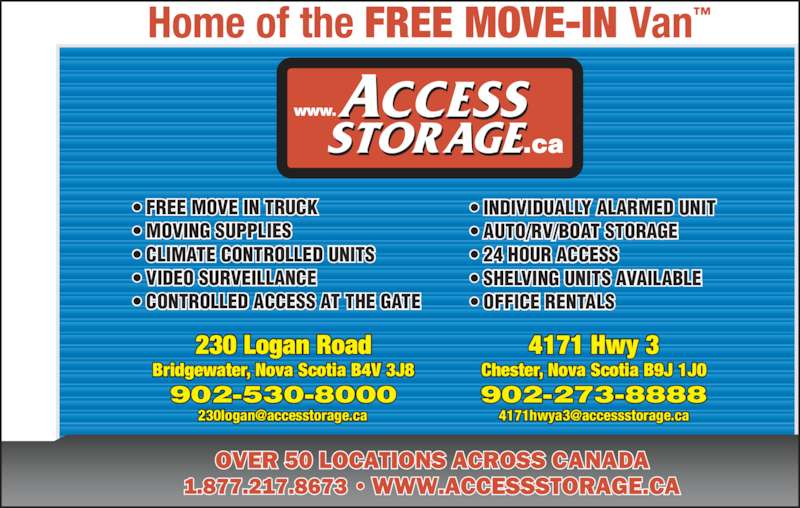 Access Storage Opening Hours 230 Logan Rd Bridgewater Ns