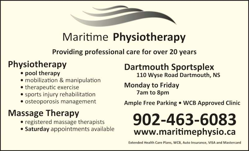 Maritime Physiotherapy Ltd Opening Hours 2 192 Wyse Rd Dartmouth Ns