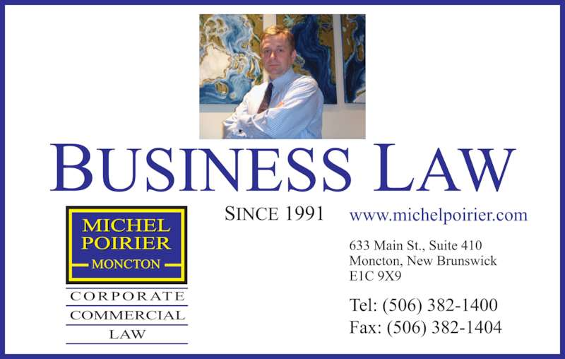 Poirier Michel Corporate Commercial Law (506-382-1400) - Display Ad -
