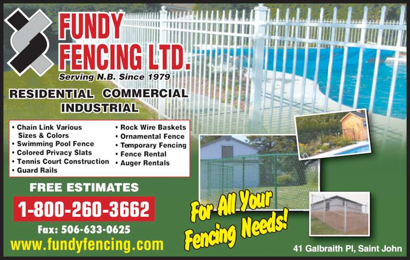 Fundy Fencing Ltd Opening Hours 41 Galbraith Pl Saint