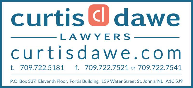 Curtis Dawe Lawyers (709-722-5181) - Display Ad -
