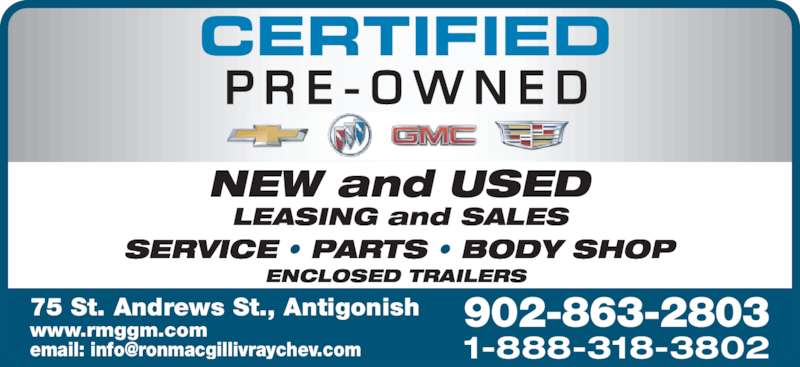 Ron Macgillivray Chev Buick Gmc Antigonish Ns 75 St Andrews St Canpages