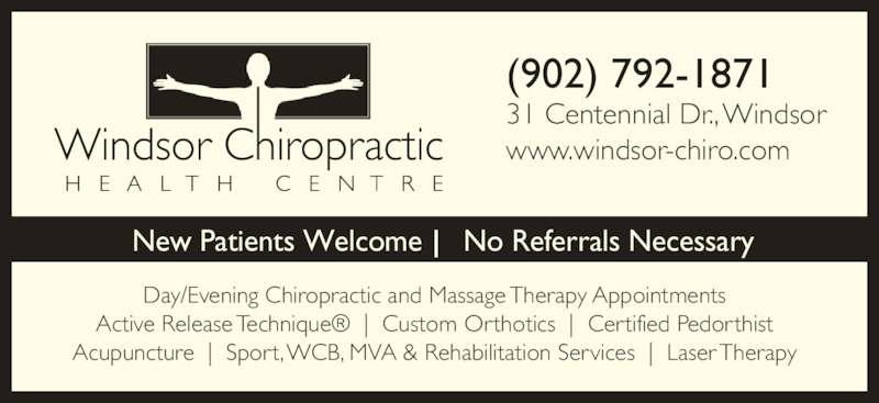 Windsor Chiropractic Health Centre 31 Centennial Dr