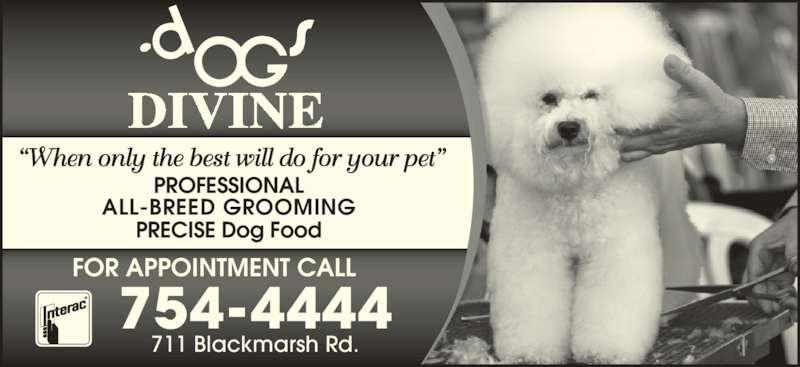"Dogs Divine (709-754-4444) - Display Ad - ""When only the best will do for your pet"" PROFESSIONAL ALL-BREED GROOMING FOR APPOINTMENT CALL PRECISE Dog Food 711 Blackmarsh Rd. 754-4444"