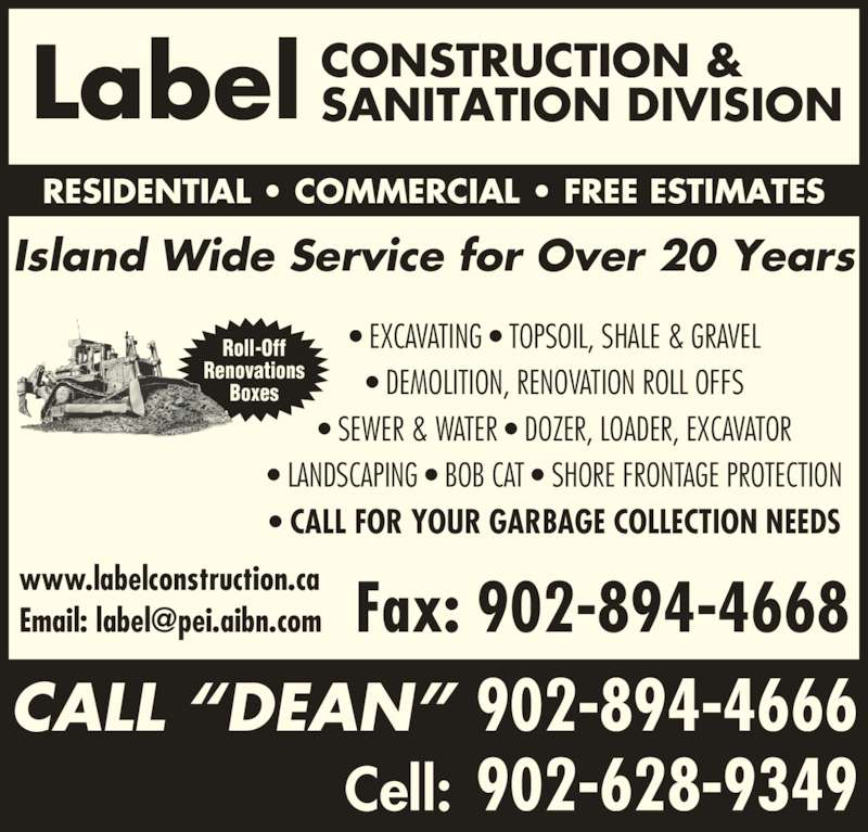 Label Construction & Sanitation Division (902-894-4666) - Annonce illustrée======= -