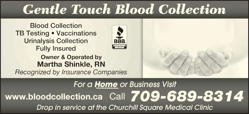 Gentle touch blood collection st john 39 s nl 209 8 for A gentle touch salon