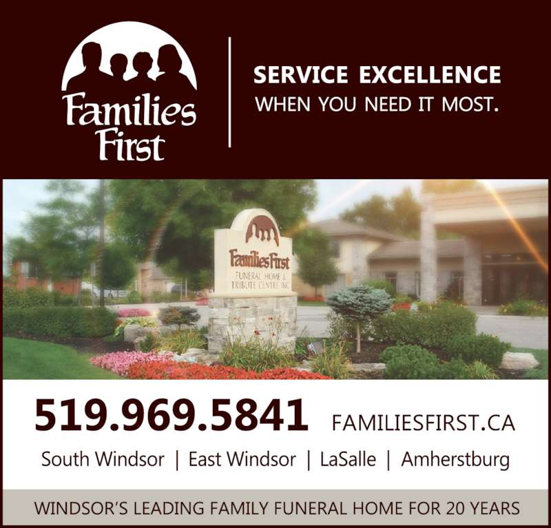 Families First Funeral Home (519-969-5841) - Display Ad -