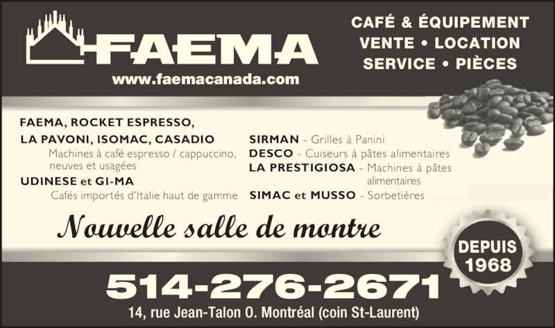 Faema Distributeur Inc Horaire D Ouverture 14 Rue