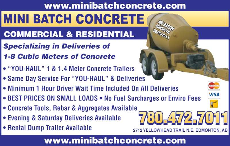 Mini Batch Concrete Inc Opening Hours 2712 Yellowhead