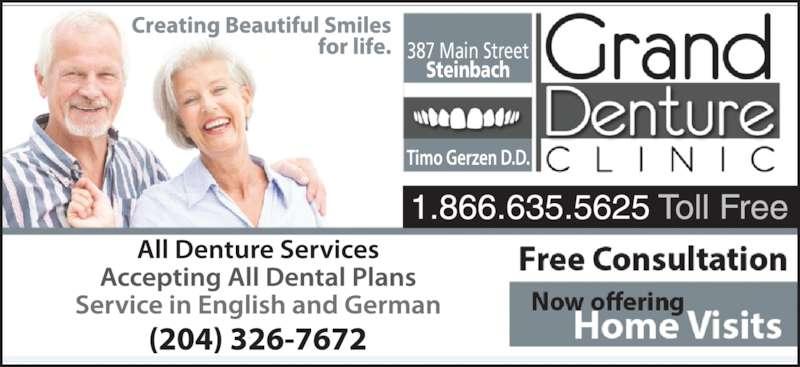 Grand Denture Clinic (204-326-7672) - Display Ad - 387 Main Street Steinbach