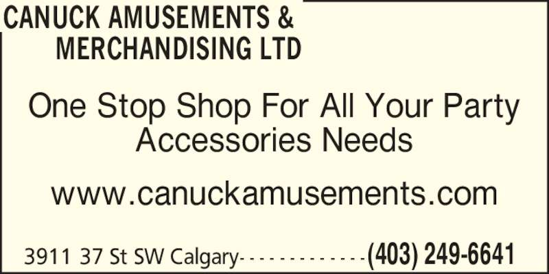 Canuck Amusements Amp Merchandising Ltd Calgary Ab 3911