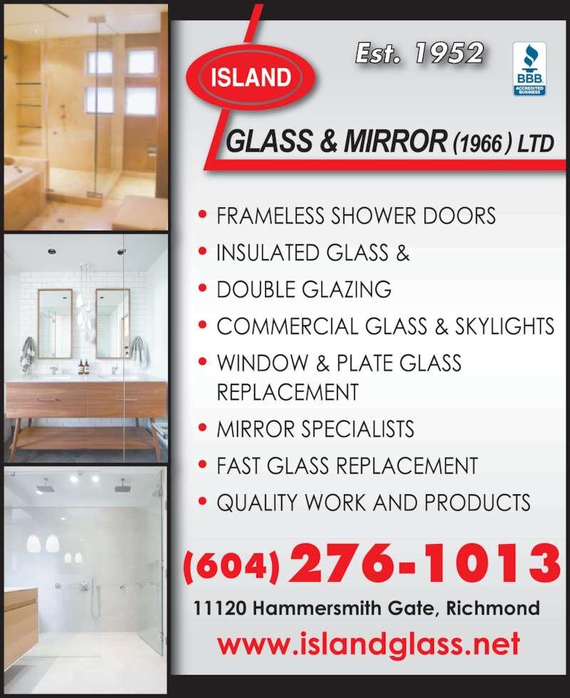 Island Glass & Mirror (604-272-9601) - Display Ad - Est. 1952 (604)276-1013 ISLAND
