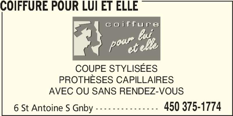 Coiffure Pour Lui Et Elle - Horaire du0026#39;ouverture - 6 rue Saint-Antoine S Granby QC