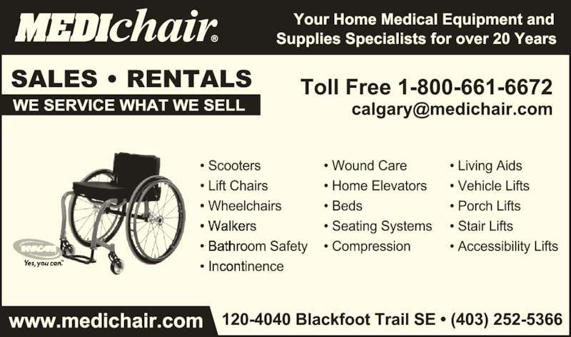 Medichair (403-252-5366) - Display Ad -