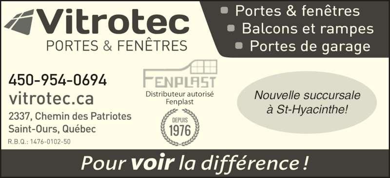 Vitrerie vitrotec inc saint ours qc 2337 ch des for Futura porte et fenetre