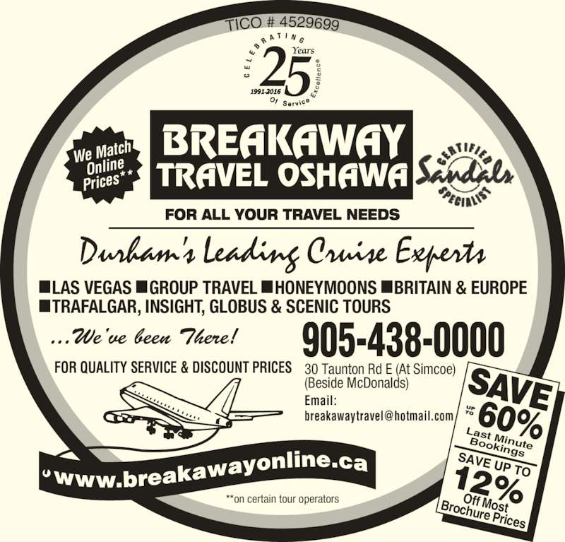 breakaway travel Breakaway was bbc radio's second regular consumer travel programme, the first being the short-lived away from it all, both run by producer roger macdonald it was launched on saturday 29 september 1979, when it ran from 905 to 950 on bbc radio 4, where it continued to be broadcast live every saturday morning in roughly the same time slot .