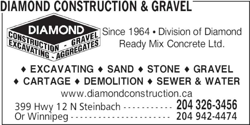 Diamond Construction & Gravel (204-326-3456) - Annonce illustrée======= -