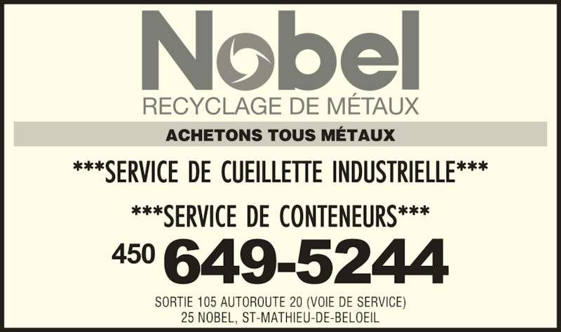 Nobel Métaux (450-649-5244) - Annonce illustrée======= -