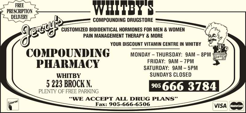 Jerry's Compounding Pharmacy (905-666-3784) - Display Ad -