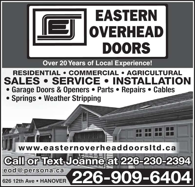 Eastern Overhead Doors Opening Hours 626 12th Ave