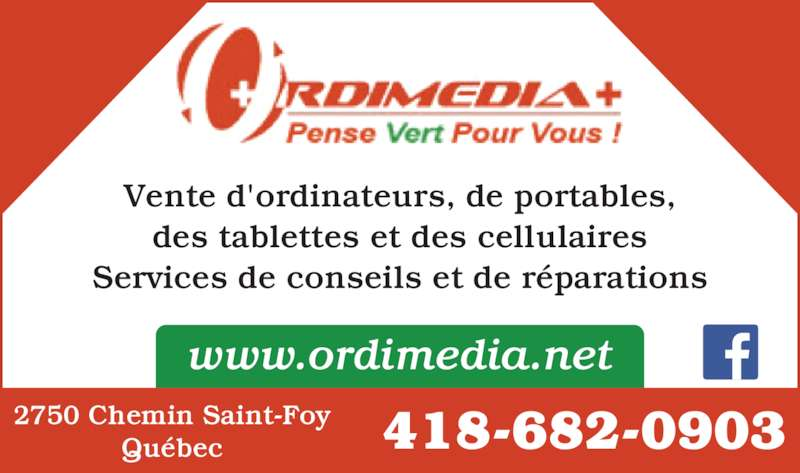 Ordimedia Plus (418-682-0903) - Annonce illustrée======= - 418-682-09032750 Chemin Saint-FoyQu?bec Vente d'ordinateurs, de portables, des tablettes et des cellulaires www.ordimedia.net Services de conseils et de r?parations