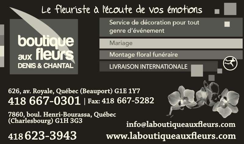 Boutique aux fleurs Denis et Chantal (418-623-3943) - Annonce illustrée======= - genre d??v?nement Montage floral fun?raire Mariage