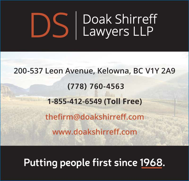 Doak Shirreff LLP (250-763-4323) - Display Ad - (778) 760-4563 1-855-412-6549