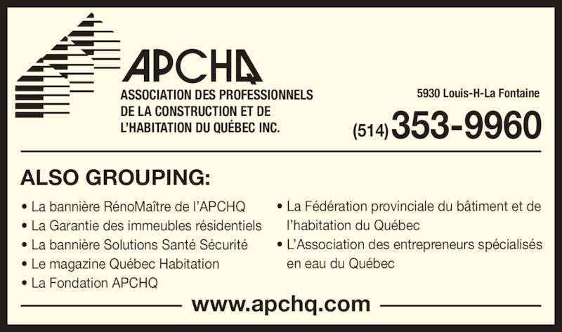 Association des professionnels de la construction et de l 39 habitation du qu bec inc apchq - Code de la construction et de l habitation ...