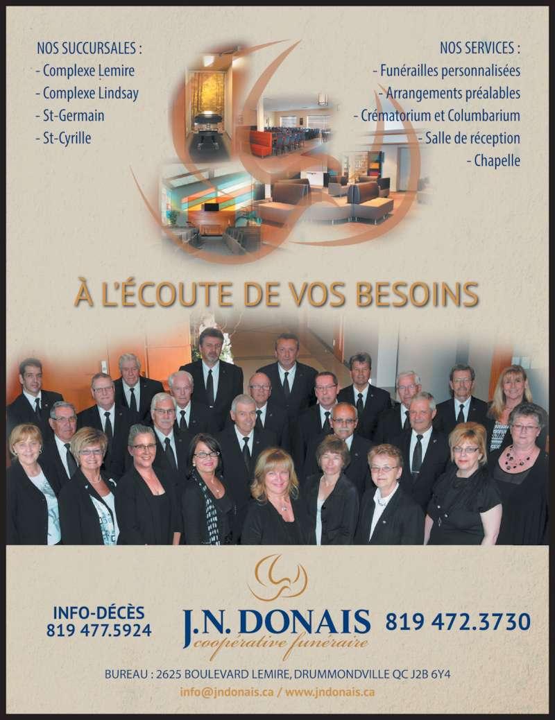 J N Donais Coopérative Funéraire (819-472-3730) - Annonce illustrée======= -