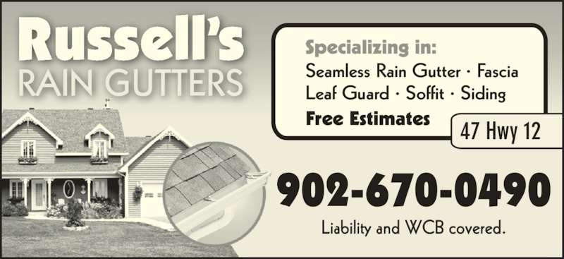 Russell S Rain Gutters 47 Hwy 12 New Ross Ns