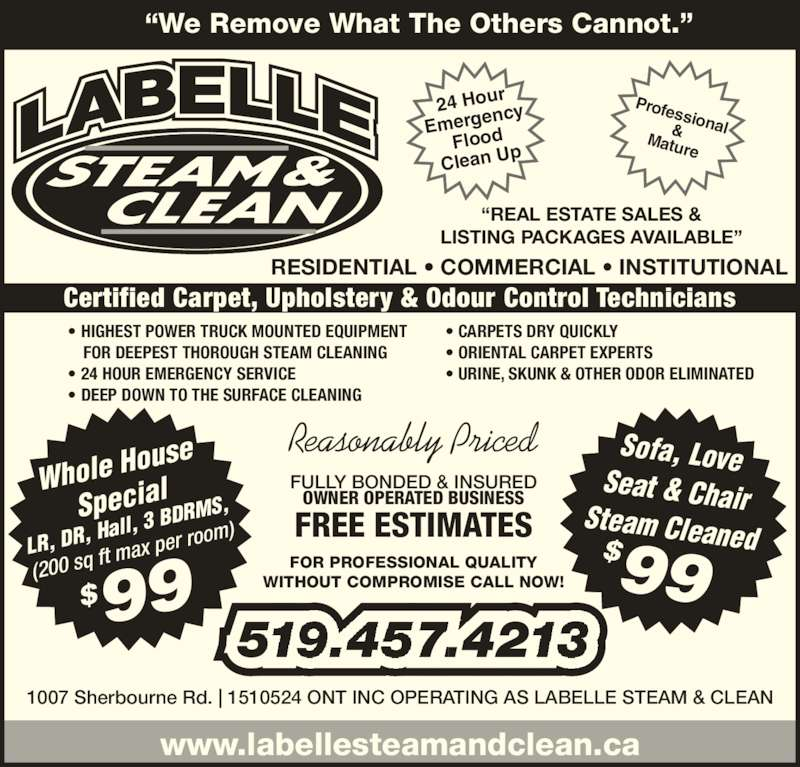 Labelle Steam Amp Clean Opening Hours 1007 Sherbourne Rd
