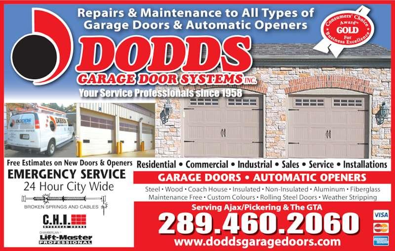 Dodds Garage Door Systems Inc Opening Hours 346