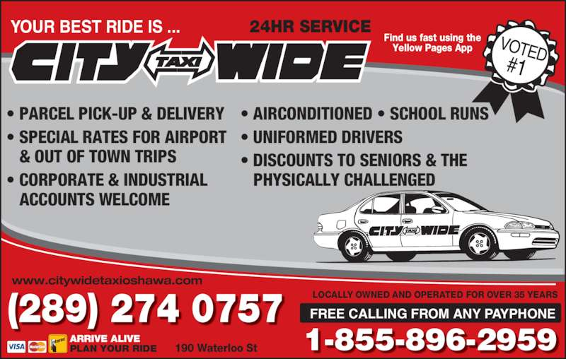 City-Wide Taxi (905-579-9393) - Display Ad -