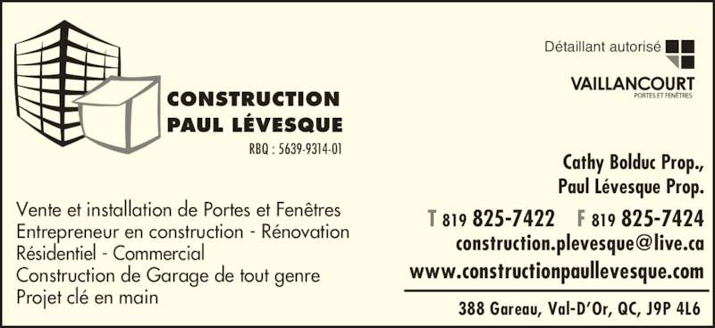 Construction paul levesque val d 39 or qc 388 rue for Porte fenetre futura laval
