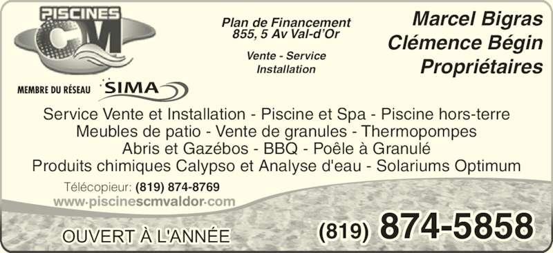 Piscines c m horaire d 39 ouverture 855 5e avenue val d for Meuble bigras