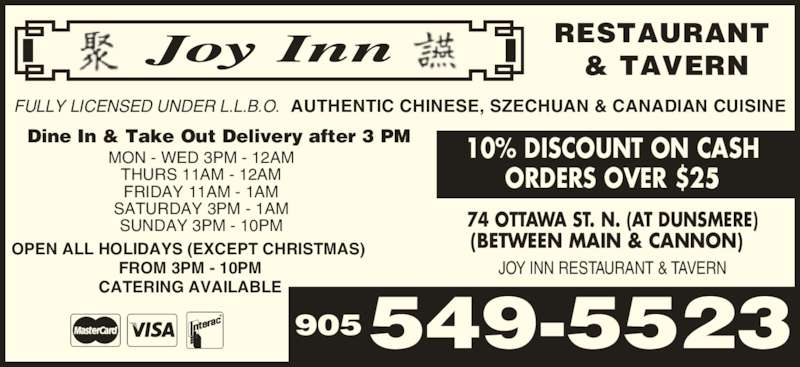 Joy Inn Restaurant & Tavern (905-549-5523) - Display Ad -