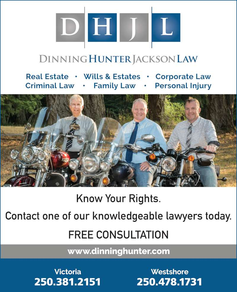 Dinning Hunter Jackson Law (2503812151) - Display Ad - Contact one of our knowledgeable lawyers today. FREE CONSULTATION Know Your Rights.