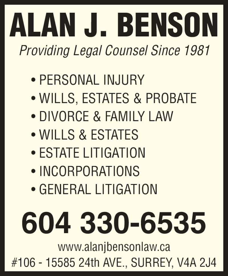 Benson Alan J - Surrey, BC - 106-15585 24 Ave | Canpages