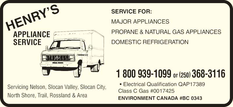 Henry S Appliance Service Opening Hours 1135 Second