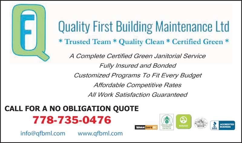 Quality First Building Maintenance Ltd (604-584-2103) - Display Ad - 778-735-0476