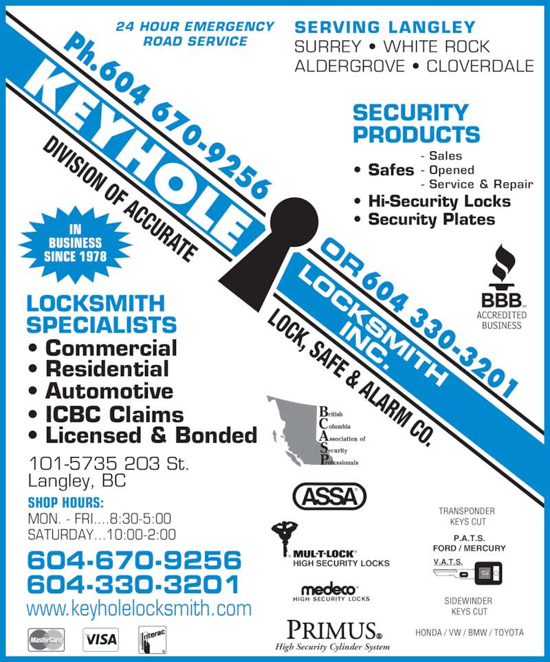 keyhole locksmith inc   langley bc   5735 203rd st canpages