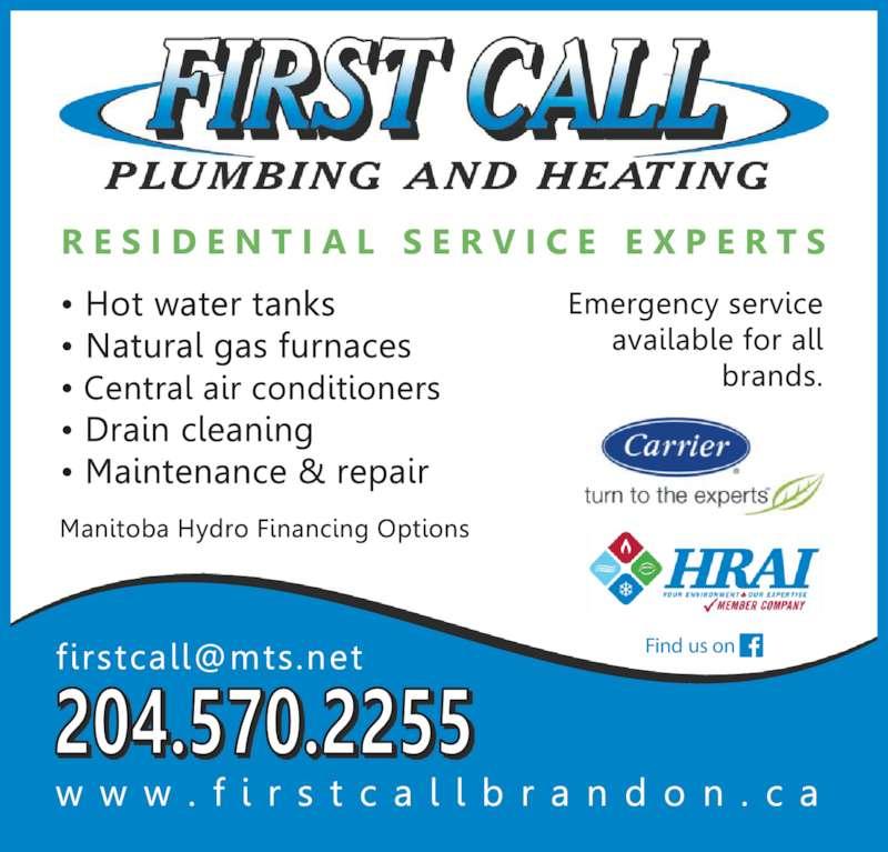 First Call Plumbing Amp Heating Brandon Mb 1635e 13th
