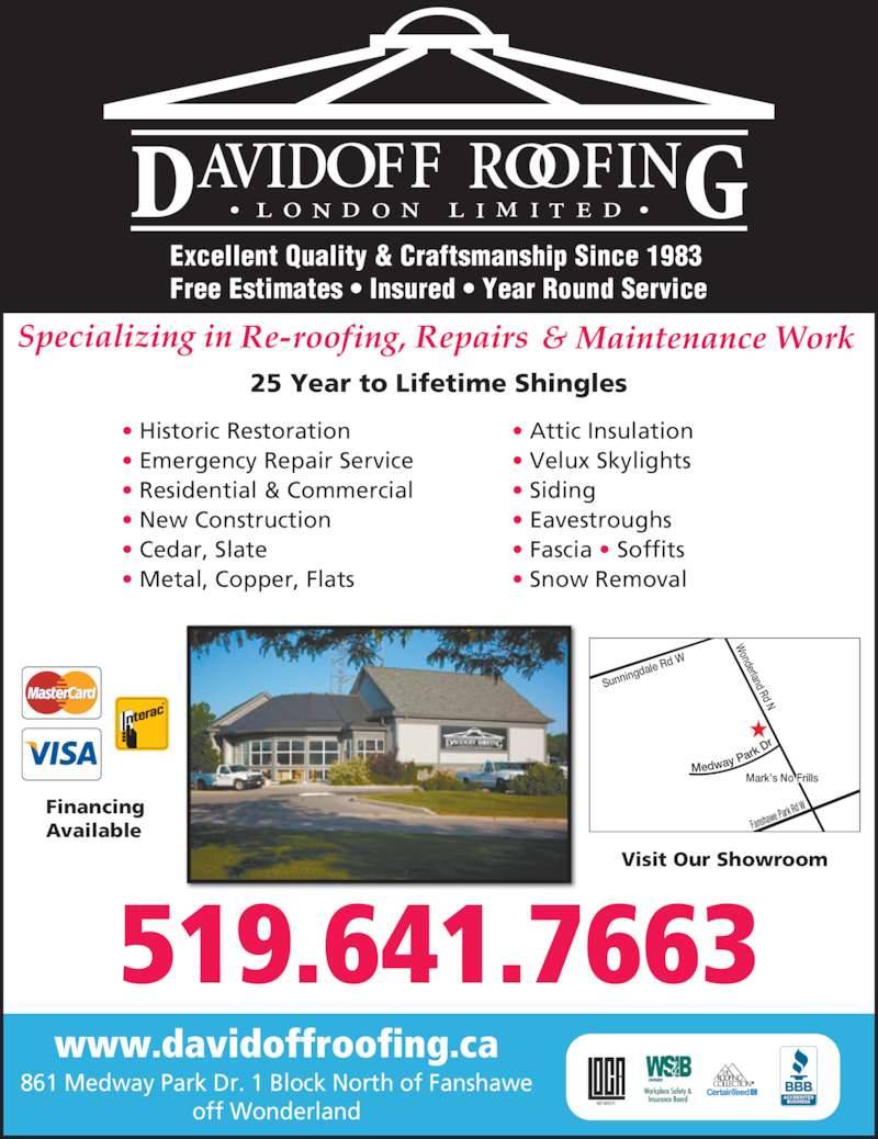 Davidoff Roofing London Ltd Opening Hours 861 Medway Park Crt London On