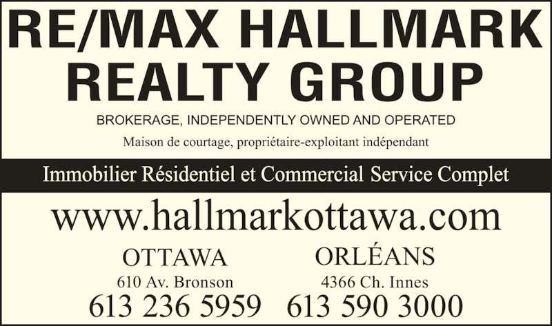 Re/Max Hallmark Realty Group (613-236-5959) - Annonce illustrée======= -