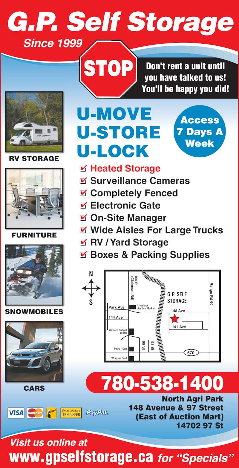 g p self storage inc opening hours 14702 97 st grande prairie ab. Black Bedroom Furniture Sets. Home Design Ideas